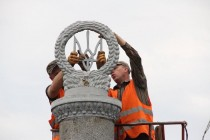 Довгоочікувальне оновлення центрального мосту. Серп і молот замінили тризубом (Фото)