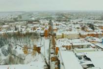 Засніжений центр Вінниці зняли з безпілотника (Відео)