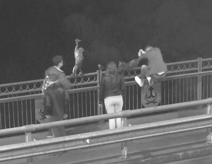 На Київському мосту молодик намагався відірвати металевого кота. Другий випадок за тиждень (Фото)