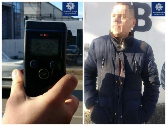 У Вінниці водій напідпитку вчинив ДТП. Алкотестер показав перевищення норми в 15 разів (Фото)