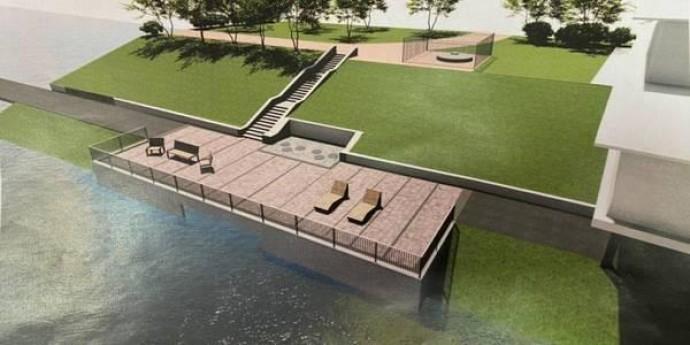 На Русановской набережной строят поливочно-оросительную систему и сделают благоустройство