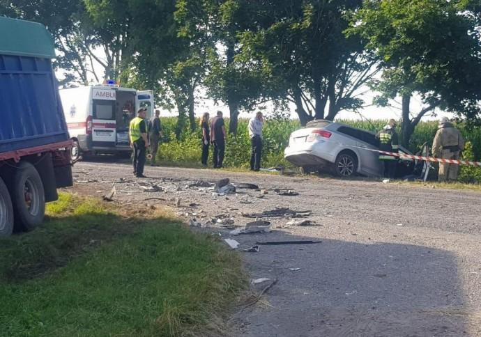 На Вінниччині Toyota влетіла у зерновоз. Загинуло троє людей (Фото)
