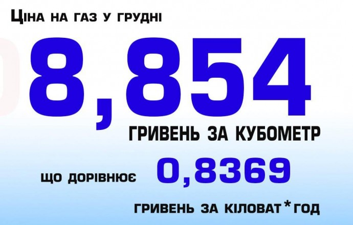 У грудні ціна газу на Вінниччині коштуватиме 8,85455 гривень за куб