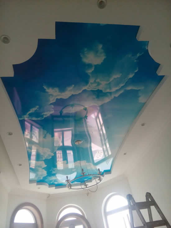 Натяжной потолок небо с облаками в Киеве от Деми-Луне
