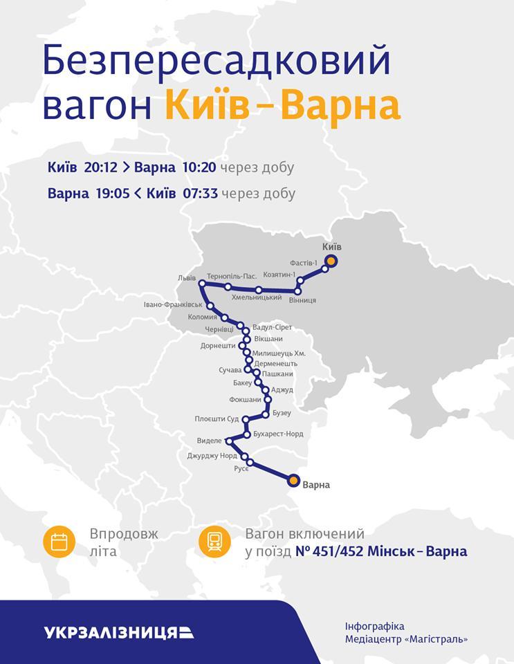 Протягом літа через Вінницю курсуватиме потяг до Болгарії