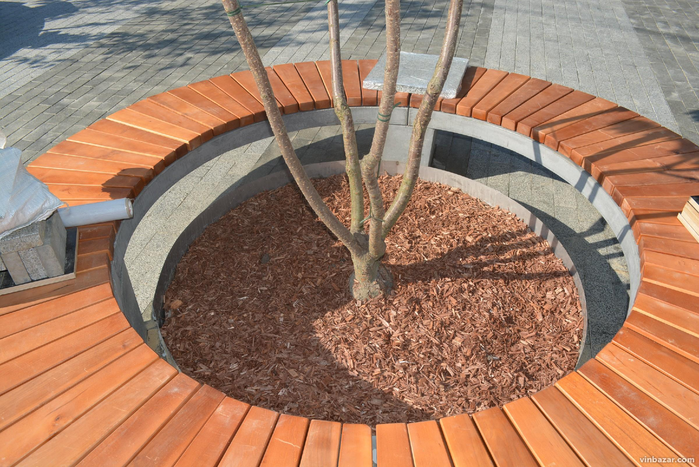 Біля арки встановили круглі лави з сакурами (Фото)