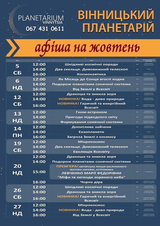 У Вінницькому планетарії покажуть дві нові програми та авторську лекцію (Фото)