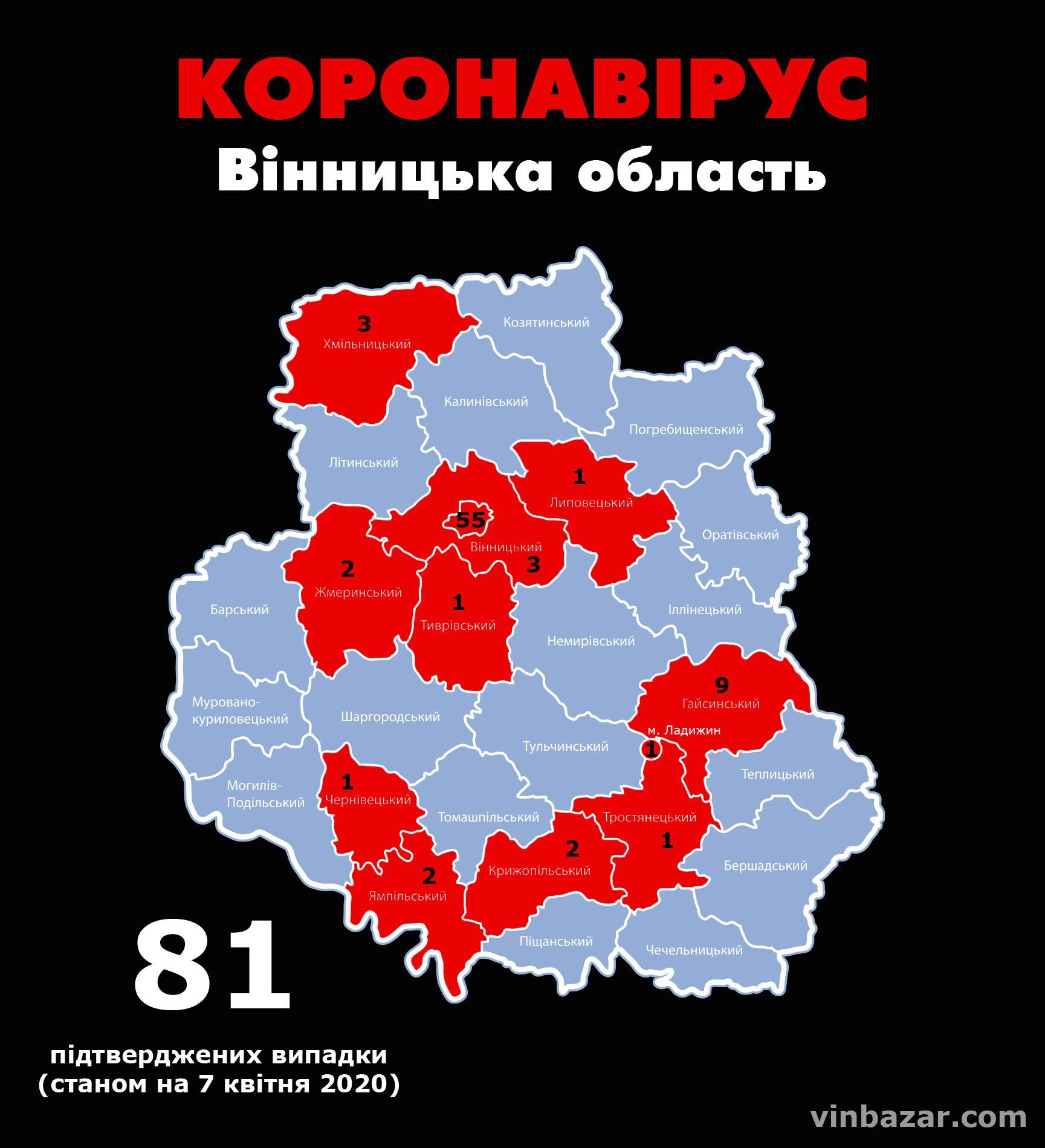 Станом на ранок 7 квітня у Вінницькій області підтвердили 81 випадок коронавірусу