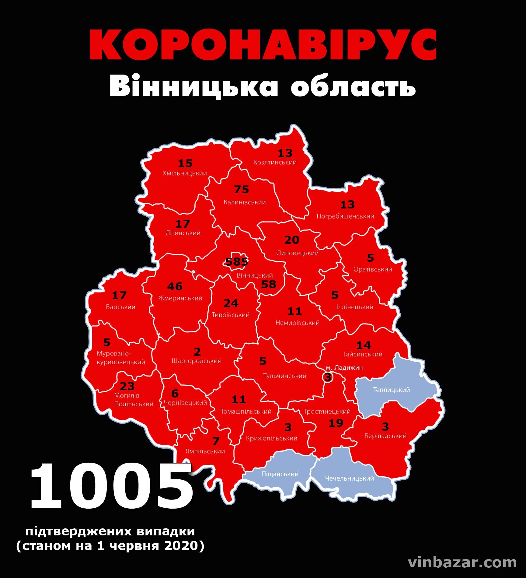 Станом на ранок 1 червня у Вінницькій області підтвердили 1005 випадків коронавірусу