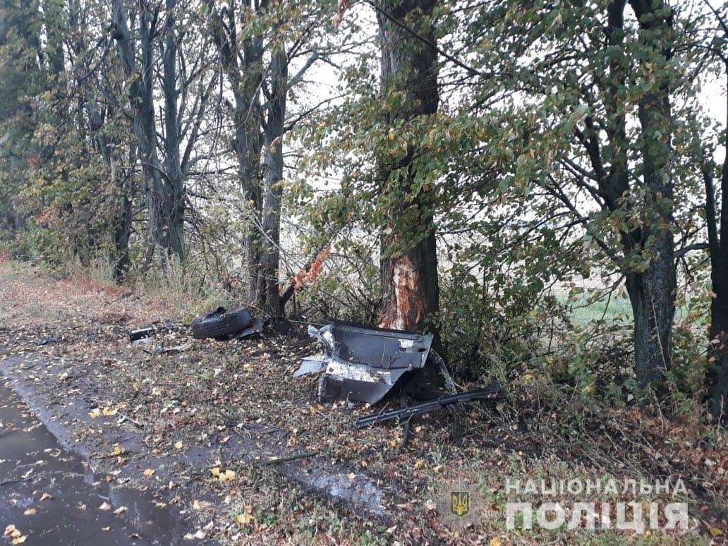 У Калинівському районі позашляховик врізався в дерево та перекинувся. Є жертви (Фото)