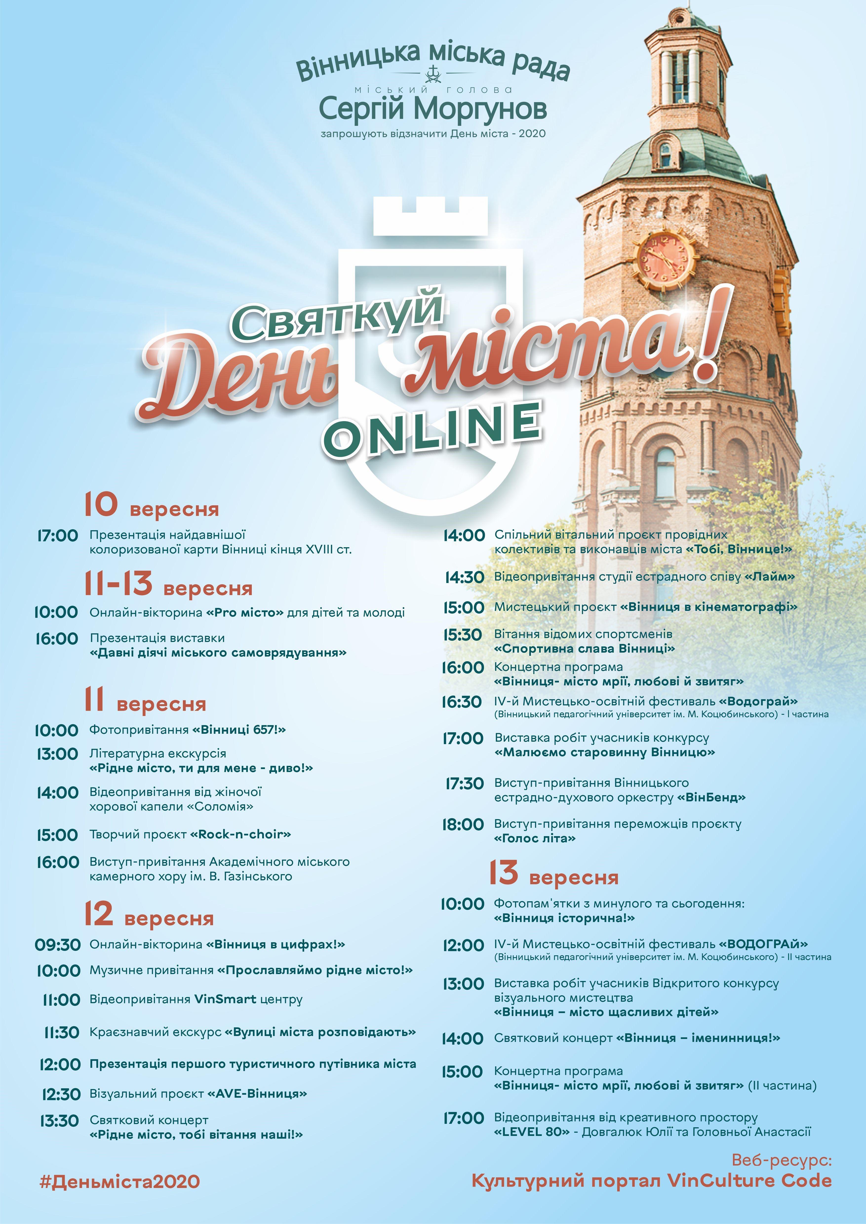 День міста Вінниці 2020 святкуватимуть онлайн. Програма заходів