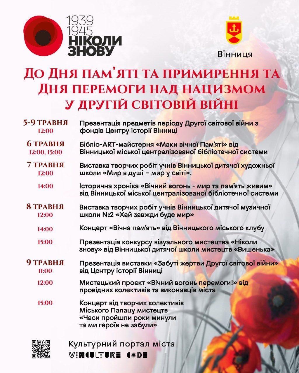 У Вінниці напередодні 9 травня пройдуть мистецькі заходи та концерти