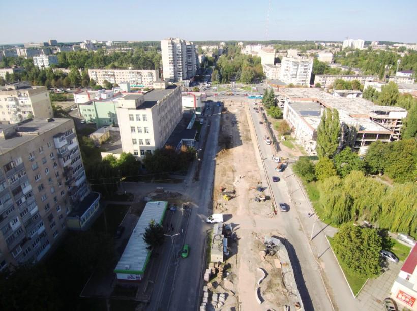 Третю чергу реконструкції проспекту Космонавтів зняли з безпілотника (Відео+Фото)
